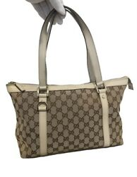 141470 Abbey Gg Canvas Tote Leather Beige Brown Shoulder Bag