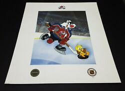 Looney Tunes ' Tweety Bird And Sylvester The Cat ' Ltd Edition Nhl Litho Avalanche