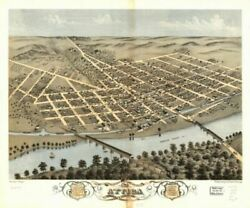 1869 Map| Bird's Eye View Of The City Of Attica, Fountain County, Indiana 1869|
