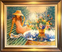 Claude Fossoux Oil On Canvas Authentic Painting And Signed 100x84cm
