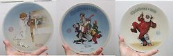 Edwin M. Knowles China Co.andndashnorman Rockwell 3 Plates Series Collection-new In Box