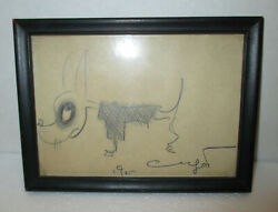 Xaviar Cugat Pencil Drawing Sketch Of A Dog Signed Original Frame -with A Note