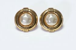 Vintage Paris 1980's Gold Plated Pearl Round Earrings