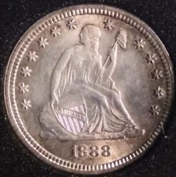 1888-s 25c Liberty Seated Quarter With Blazing Luster