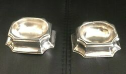 1731 - Newcastle William Partis Pair Of Silver Salt Trenchers - George Ii