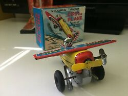 Vintage Japan Rare 1960and039s Yone Wind Up Tin Litho Toy Circus Air Plane W/ Boxandnbsp