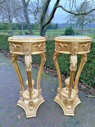French Louis Xvi Pedestals/ Side Tables In Gold With Marble- A Pair