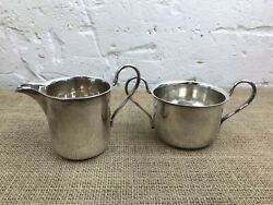 Antique Vintage Silver Plate Traditional English Milk Cream Jug And Sugar Bowl