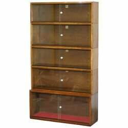 Five Section 1960and039s Simplex Medium Oak Stacking Legal Library Bookcase Glass