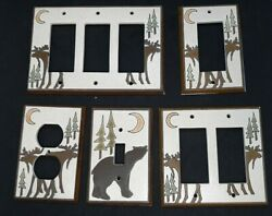 All Fired Up 5 Moose And Bear Artistic Ceramic Light Switch/socket Plate Covers