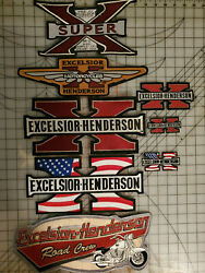 Excelsior Henderson Motorcycle 8 Pcs Patch Collection New Nos