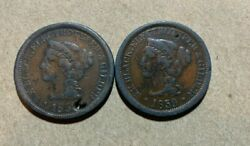 1859 Large Cent Merchant Token S. H. Black Electrotyper Nyc Broadway Lead Cull