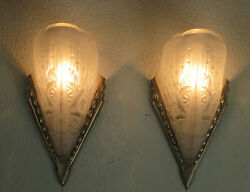 Pair Of French Art Deco Sconces 1930 - Signed Lorrain Nancy France