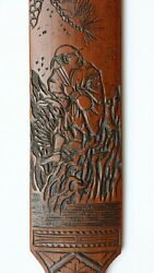 Fine Antique Japanese Meiji Period Carved Bamboo Page Turner With Robed Man