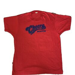 Cheers Boston Vintage Single Stitch T Shirt Mens Large Red blue
