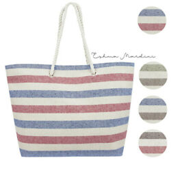 Eshma Mardini Striped Canvas Beach Bag Inner Pocket Top Handle Eco $10.89