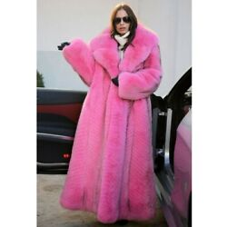 Women Real White Fox Fur Coat With Big Lapel Collar Thick Warm Fashion Overcoat