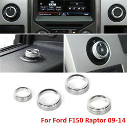 4pcs Headlight 4wd Switch Cover Knob Ring Trim For Ford F150 2009-2014 Silver