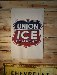 Vintage Style Large The Union Ice Company Painted Banner Sign 48x 31 Co. Cold