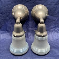 Pair Silver Chrome Early Electric Sconces With Art Deco Shades 15c