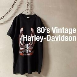 80s Harley-davidson Print Tee Black Size M Tops Short Sleeves