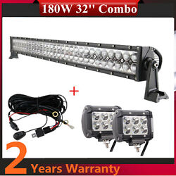 180w 32inch Led Combo Light Bar Straight+4'' 18w Wiring Harness Tractor F150 Rzr