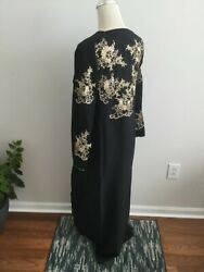 evening women abaya jacket maxi embroidered Caftan apleque SMALL long sleeves $30.00