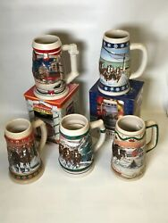 Lot Of 5 Budweiser Holiday Beer Steins Collectibles