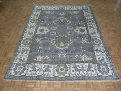 9'2 X 11'9 Hand Knotted Silver Gray Oushak Oriental Rug G9676