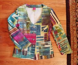 Save The Queen Fitted Wool Jacket Blazer Abstract Art Made In Italy Size L Xl