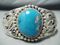 Fannie Platero Navajo Turquoise Mountain Turquoise Sterling Silver Bracelet
