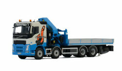 For Volvo Fh4 Sleeper Cab 8x4 Riged Flat Bed Truck Palfinger 1/50 Diecast Model
