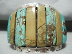 One Of The Biggest Best Vintage Navajo Turquoise Inlay Sterling Silver Bracelet