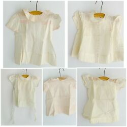 Lot 5 Vintage 1940s-50s Baby Dresses Pinafore Organza Smocking Embroidery