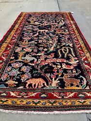 Fine Quality Semi Antique And Dated Wool Hand Knotted Pictorial Rug Carpet