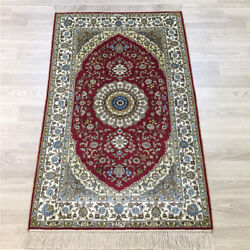 Yilong 2.5and039x4and039 Handmade Red Silk Carpet Home Interior Indoor Area Rug Y159a