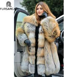 Natural Real Fur Coat Women With Lapel Collar Thick Warm Gold Fox Fur Jacket