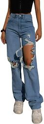 Kmbangi Womenandrsquos High Waisted Wide Leg Pants Straight Denim Jeans Casual Baggy Tr