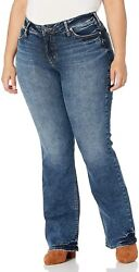 Silver Jeans Co. Womenand039s Plus Size Elyse Curvy Mid Rise Slim Fit Bootcut Jean