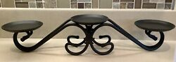 Longaberger Black Wrought Iron Pillar Decorative Stand 3 Candle Holder Mapleleaf