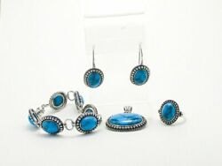 Vintage Sterling Silver Lot Of 4 Southwestern Turquoise Jewelry Set Ring Earring