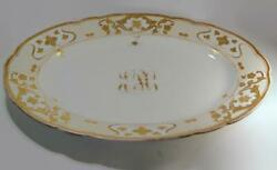 Antique A. Lamm Dresden China Lmq114 Large Platter Raised Gold Flowers And Lattice