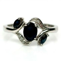 Aaa Midnight Blue Sapphire Ring With White Cz Accent 925 Sterling Silver Sz 6.75