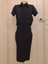 Alexander Mcqueen A/w 2001 Vintage Rare Wool Military Button Up Dress 40 S Fab
