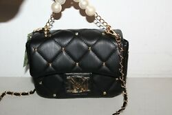 NWT BADGLEY MISCHKA CROSSBODY W PEARL BLACK BAG PURSE VEGAN LEATHER $129 $48.99