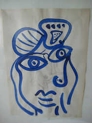 Peter Keil Blue Picasso Woman Face Oil Painting Signed Framed German Listed Coa