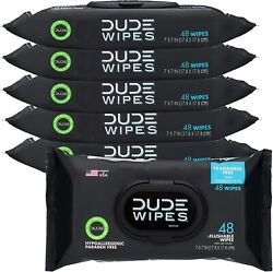 Dude Wipes Flushable Wet Wipes Dispenser 48 Count 6 Pack Unscented With Aloe V