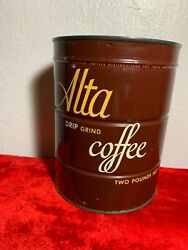 Vintage Alta Coffee Can, Two Pound Tin, Unopened, With Key  Near Mint
