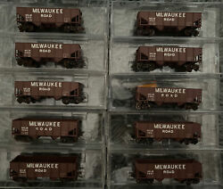 N Scale Custom Painted Micro Trains Mtl Milwaukee Road 33' Ribbed Hopper Read Ad