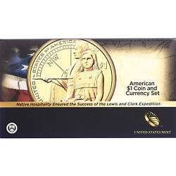 2014 D Enhanced Native American And 2013 1 Note Coin And Currency Set